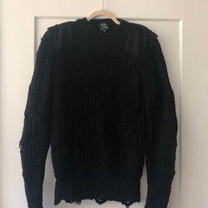 Alexander McQueen distressed black sweatshirt XS
